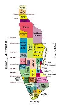 Hvor skal man bo i New York - kort over kvarterer på Manhattan